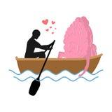 Homme et cerveau et tour en bateau Amants de la navigation Images stock