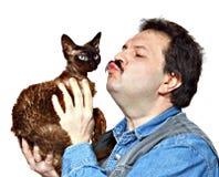 Homme et chat Photo libre de droits