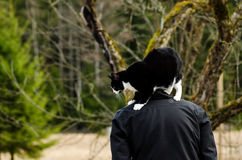 Homme et chat Photographie stock