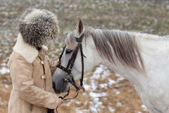Homme et cheval Image stock