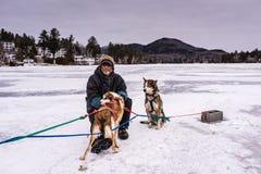 Homme et chiens attendant le traîneau de chien Photographie stock libre de droits
