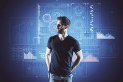 Homme et diagramme financier Photographie stock