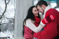 Homme et femme étreignant en parc couvert de neige Photo libre de droits