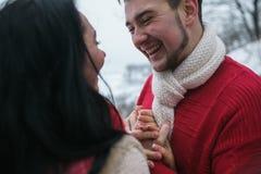 Homme et femme étreignant en parc couvert de neige Image stock