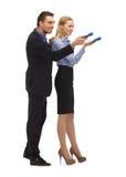 Homme et femme avec des lampes-torches Image stock