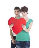 Homme et femme avec le coeur rouge Images libres de droits