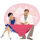 Homme et femme ayant des boissons illustration libre de droits