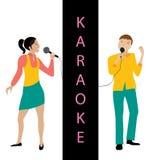 Homme et femme chantant dans le vecteur de microphone Photo stock