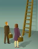 Homme et femme d'entreprise d'échelle Photo stock