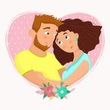 Homme et femme dans l'amour Illust de vecteur de bande dessinée de jour du ` s de St Valentine Illustration Stock