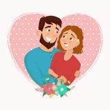Homme et femme dans l'amour Illust de vecteur de bande dessinée de jour du ` s de St Valentine Illustration de Vecteur