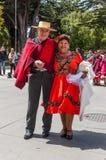 Homme et femme dans l'habillement chilien Photos libres de droits