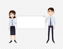 Homme et femme de bande dessinée de vecteur tenant la bannière vide, illustration d'isolement illustration de vecteur
