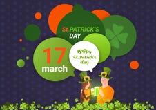 Homme et femme de Patrick Day Template Background With de saint dans des chapeaux verts tenant le verre de bière au-dessus des bu illustration de vecteur