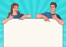 Homme et femme de sourire avec la bannière Affiche, faisant de la publicité Votre marque ou texte ici illustration libre de droits