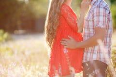 Homme et femme enceinte sur un pré Photographie stock