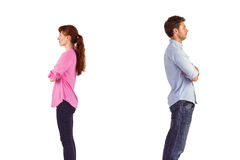 Homme et femme faisant face loin Images libres de droits