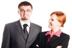Homme et femme heureux d'affaires Images libres de droits