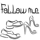 Homme et femme Le texte me suivent ` S de femmes et chaussures du ` s d'hommes Copie de T-shirt Illustration plate de vecteur illustration stock