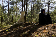 Homme et femme médiévaux Photographie stock libre de droits