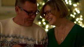 Homme et femme pluss âgé avec des verres de vin dans les roches Allègrement causant et riant, dîner romantique, date, fin clips vidéos