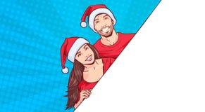 Homme et femme portant l'espace de calibre de Santa Hats Advertisement Banner With pour le texte au-dessus de rétro Pin Up Backgr Photos libres de droits