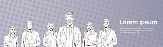 Homme et femme réussis d'affaires au-dessus d'équipe d'hommes d'affaires d'Art Colorful Retro Style Background de bruit Photographie stock