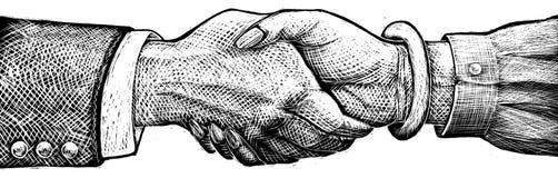 Homme et femme se serrant la main Images libres de droits