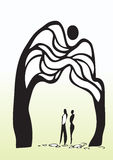 Homme et femme sous l'arbre Photos libres de droits