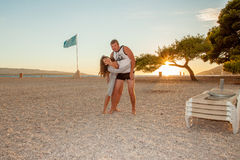 Homme et femme sur la plage Image stock