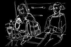 Homme et femme à une table dans le chariot de coupé Photo libre de droits