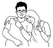 Homme et femmes de bande dessinée illustration stock