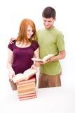 Homme et fille avec des livres Images libres de droits