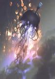 Homme et grandes méduses flottant dans le ciel illustration stock