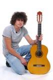 Homme et guitare Photo stock