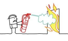 Homme et incendie Photographie stock libre de droits