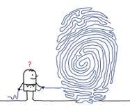 Homme et labyrinthe d'empreinte digitale Photos libres de droits