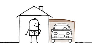 Homme et maison avec le garage Photographie stock libre de droits