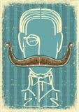 Homme et moustaches. Rétro illustration de vecteur