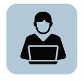 Homme et PC Photos stock
