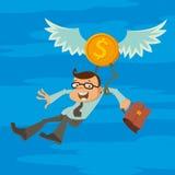 Homme et pièce de monnaie à ailes Image libre de droits