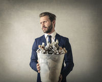 Homme et poubelle Photo libre de droits