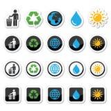 Homme et poubelle, réutilisant, globe, icônes de puissance d'eco réglées Image libre de droits
