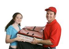 Homme et propriétaire de pizza image stock