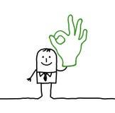 Homme et signe EN BON ÉTAT de main Photographie stock libre de droits