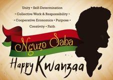 Homme et silhouette de l'Afrique indiquant les principes de célébration de Kwanzaa, illustration de vecteur Photographie stock