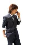 Homme et téléphone asiatiques d'affaires Photo stock