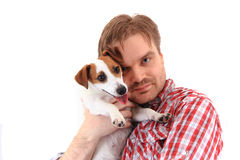 Homme et terrier de Russell de cric Images stock