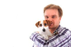 Homme et terrier de Russell de cric Photos stock