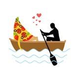 Homme et tranche de pizza et de tour en bateau Amants de la navigation Homme Photographie stock libre de droits